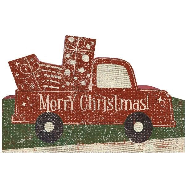 Merry Christmas Wood Truck Shelf Sitter