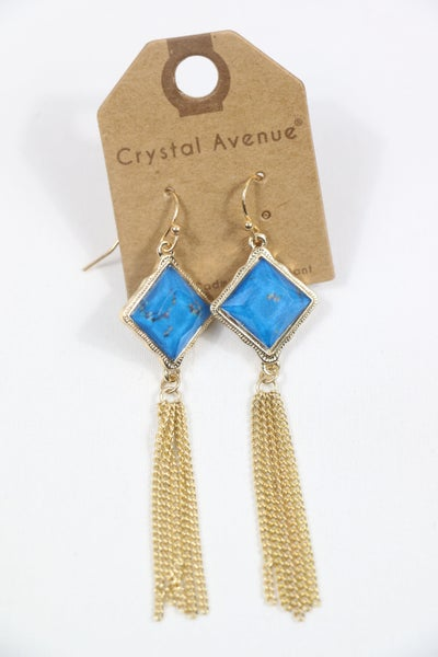 All The Years Diamond Shape Crystal Earring With Gold Chain Tassel