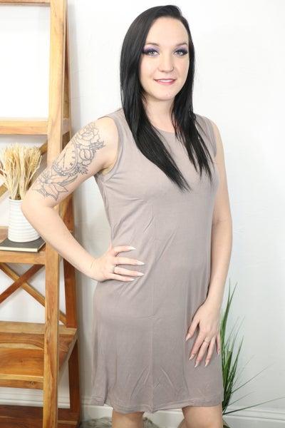 Go With Me Mocha Sleeveless Dress with Open Back and Keyhole Neckline - Sizes 4-10