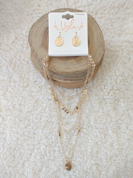 Elevate 4 Strand Gold Necklace With Hammered Gold Pendant