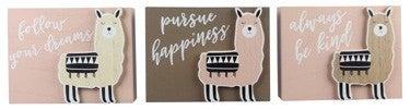 Llama Inspirational Wood Decor Signs