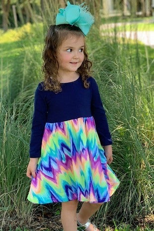 Spread Kindness Navy Dress with Multi Color Chevron Bottom **PREORDER** - Sizes 6 MO- 8 YR