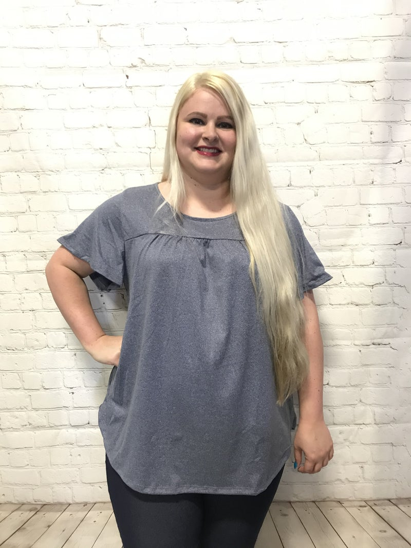 Open The Sky Heather Navy Top With Gathered Font Yoke - Sizes 12-20