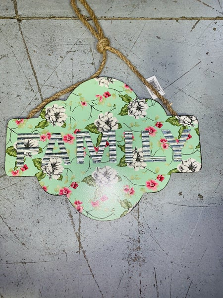 """""""Family"""" Floral Wall Sign Hanger w/ Burlap Rope in Seafoam"""