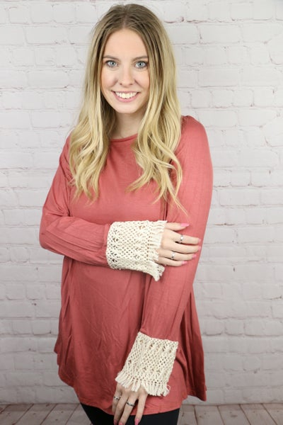 All Myself Long-sleeve Basic With Crochet Sleeve Detail In Multiple Colors- Sizes 4-10