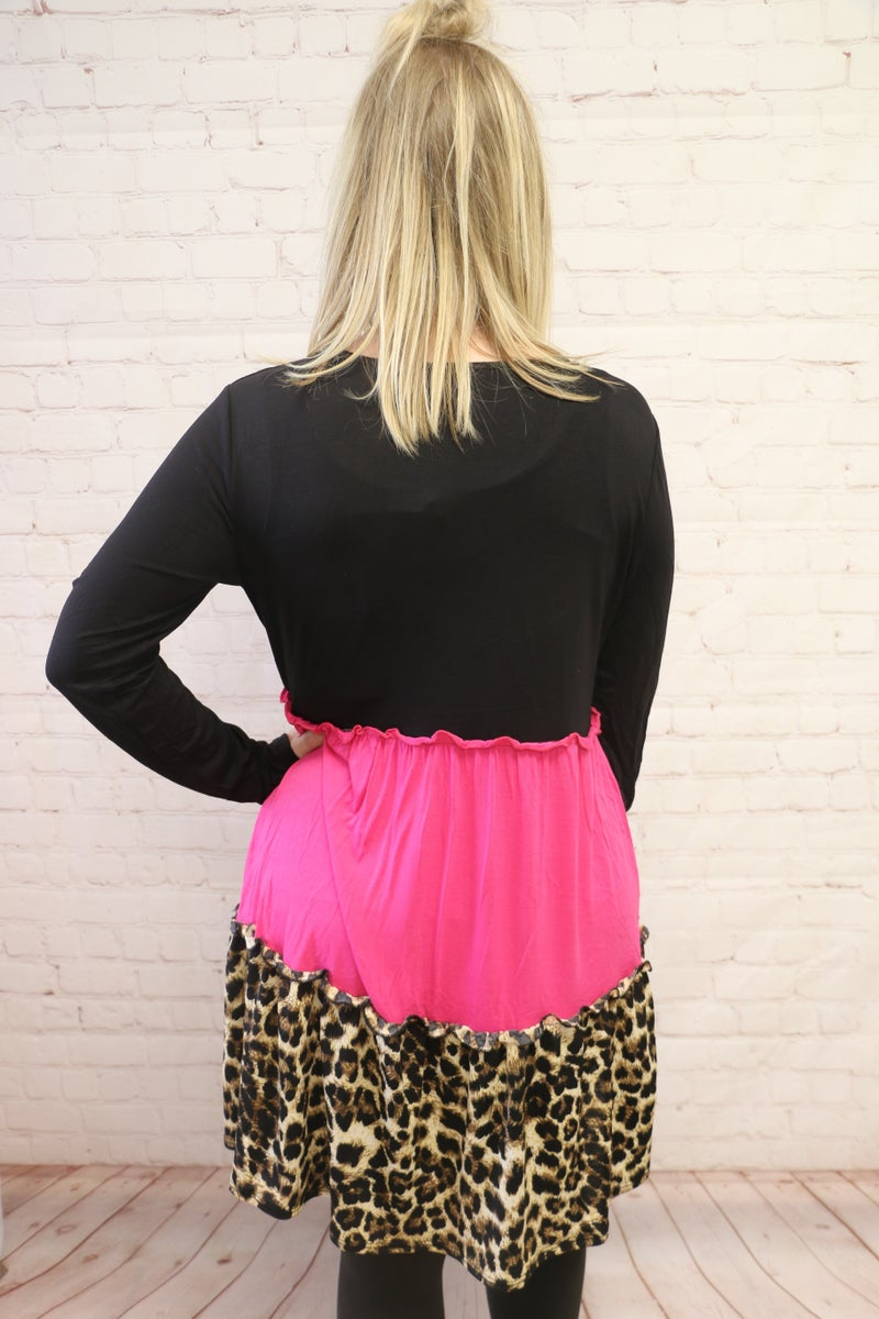 Romance Is Alive Hot Pink & Leopard Colorblock Dress - Sizes 4-20