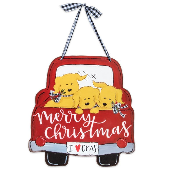 Truck Full of Christmas Puppies Wall Hanging