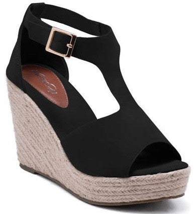 Let It Be Known Espadrille Wedge With T-Strap