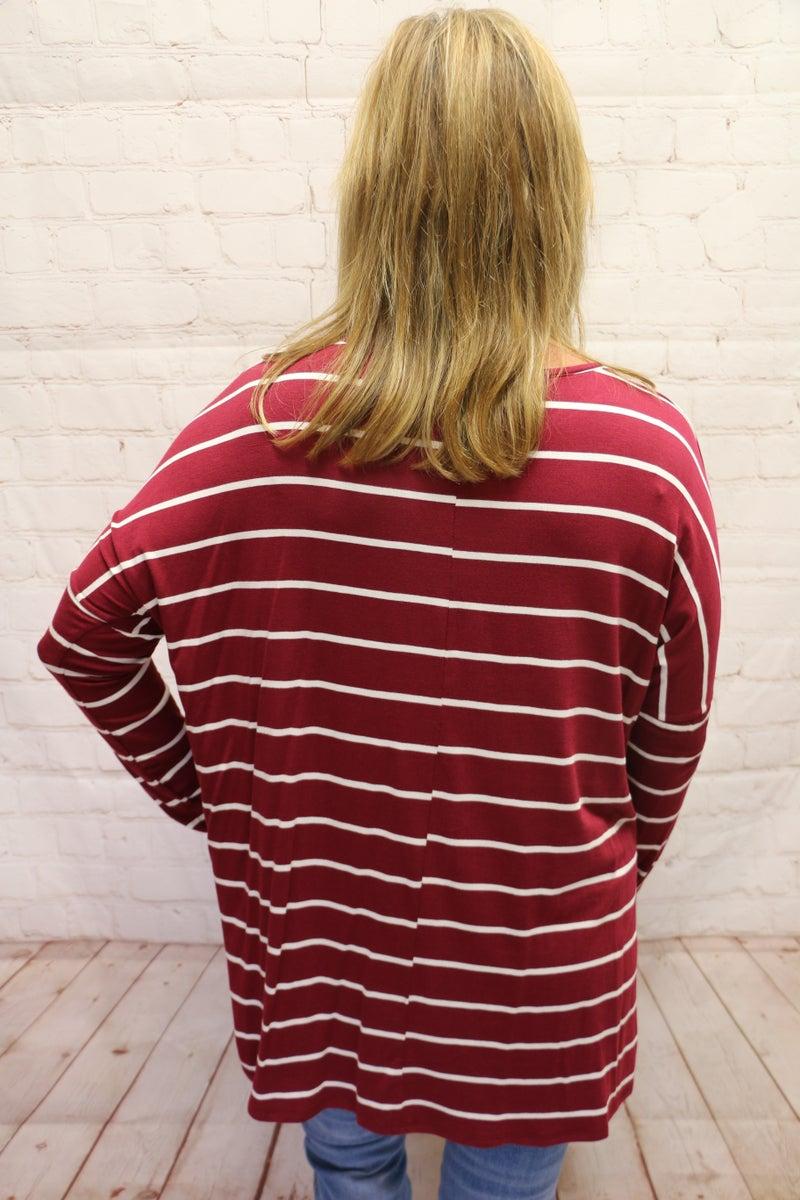 Walk on By Striped Wine Dolman - Sizes 4-10