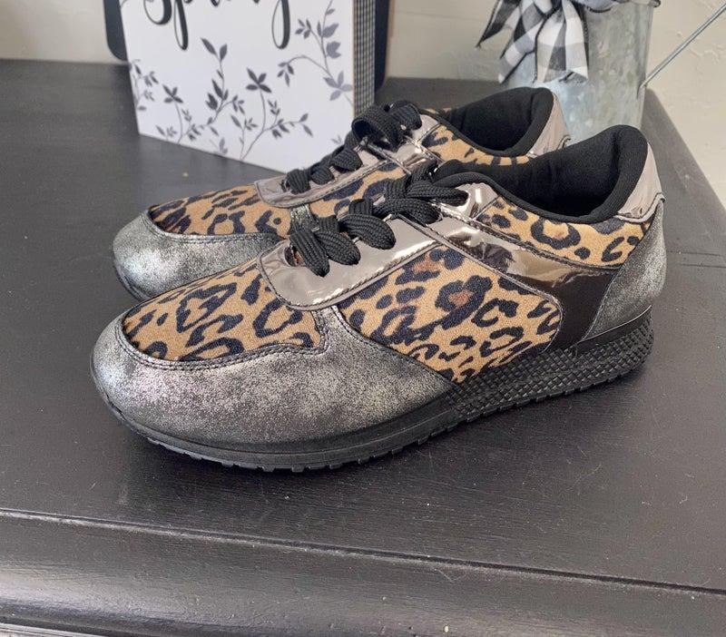 Leopard & Silver Sneakers - Sizes 7 & 7.5