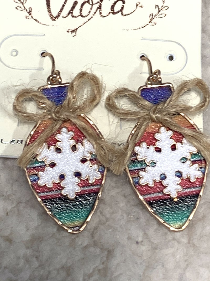 Happy Times Serape Ornament With Snowflake Earring