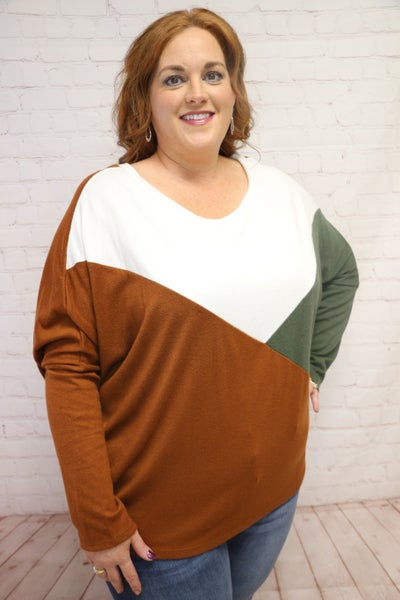 Last Minute Idea Rust and Olive Color Block Dolman Top - Sizes 4-20