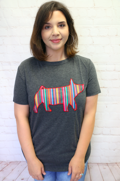 You're a Blessing Serape Pig Short Sleeve Charcoal Top - Sizes 4-18