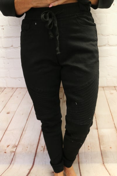 Stretchy, Comfy & Classic Moto Joggers in Black - Sizes 4-20