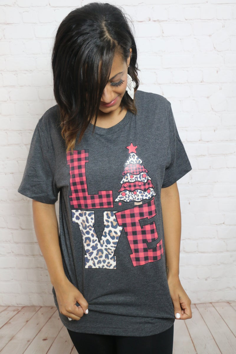 Love Christmas Buffalo Plaid and Leopard Graphic Tee ***PREORDER*** - Sizes 4-20
