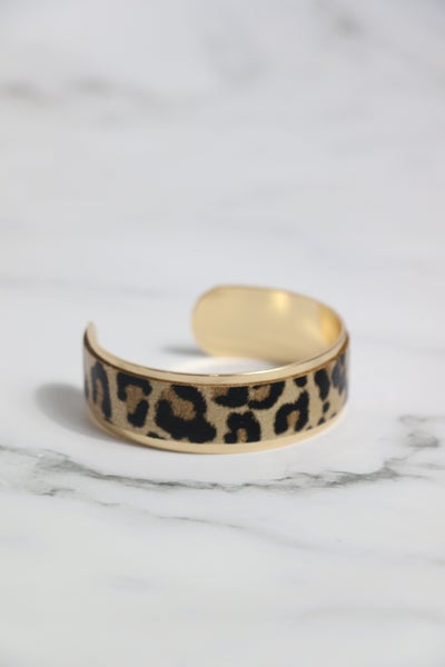 Time For You Gold And Leopard Cuff Bracelet