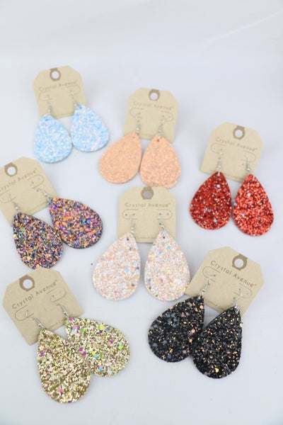 Glitter For Days Teardrop Leather Earring In Multiple Colors
