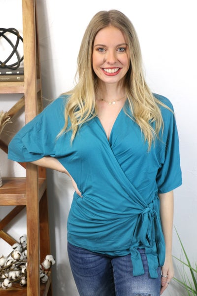 Carry On Short Sleeve Surplice Top with Side Tie in Multiple Colors - Sizes 4-20