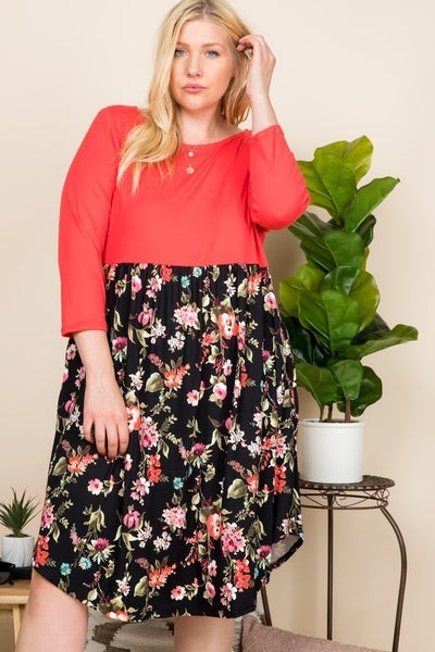 Only One Who Can Floral Dress In Multiple Colors- Sizes 12-20