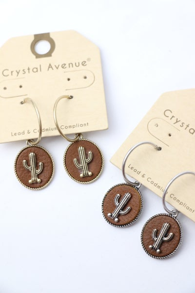 All Day Brown Leather Earring With Metal Cactus In Multiple Colors