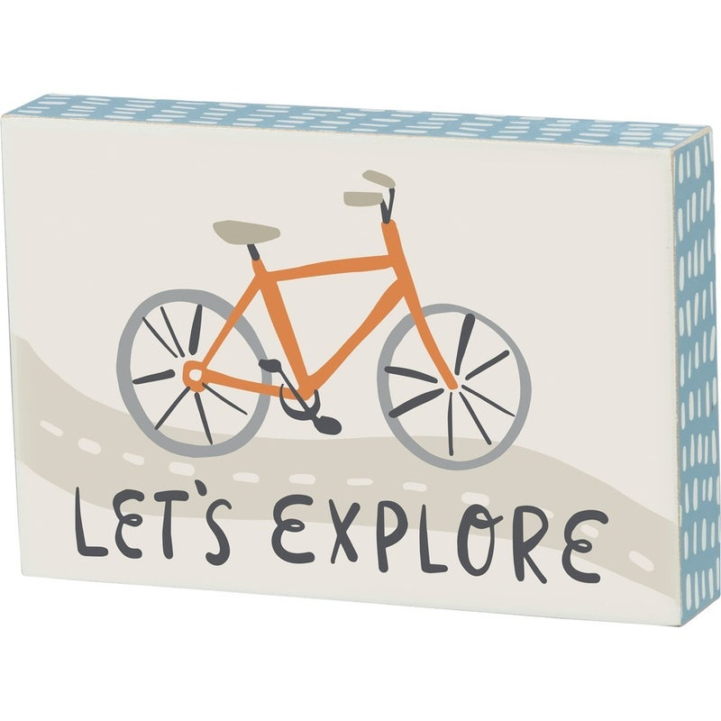 Let's Explore Bicycle Block Sign