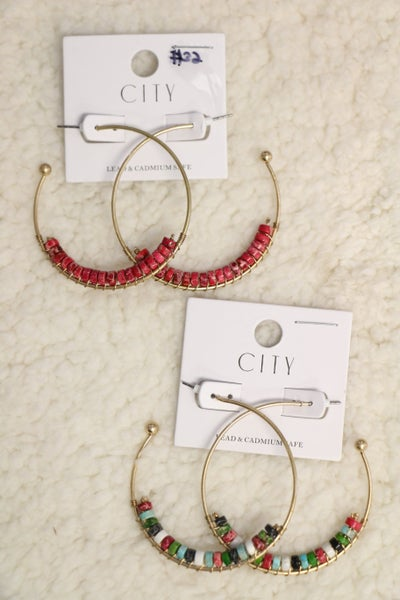 Rock Your World Gold 3/4 Hoop Beaded Earring in Multiple Colors
