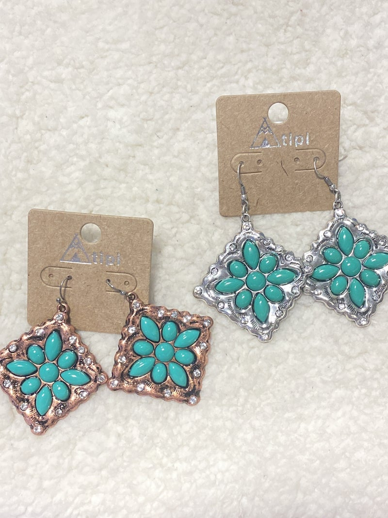Hip To Be Square Metal Earring With Turquoise Flower and Rhinestone Detail In Multiple Colors