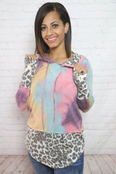 So Worth It Tie Dye Hoodie with Leopard Accents in Multiple Colors - Sizes 4-12