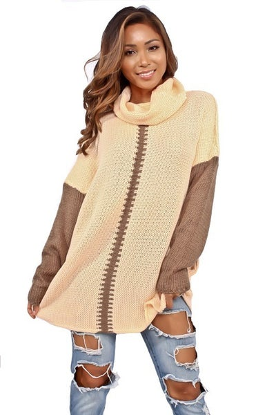 Good News Peach & Brown Turtle Neck Sweater- Sizes 4-12