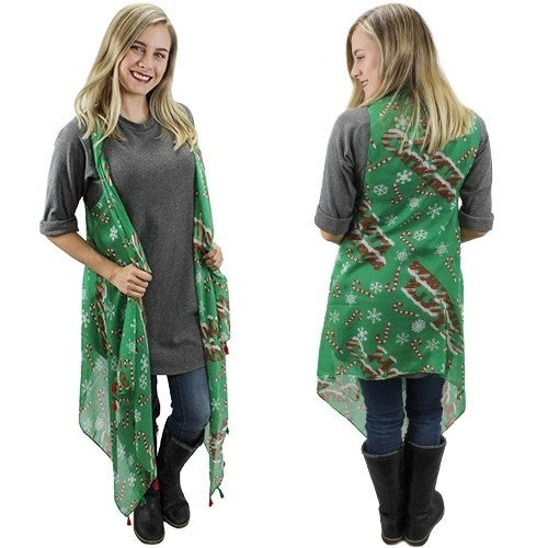 Candy Cane & Snowflake Holiday Kimono Vest - One Size Fits Most