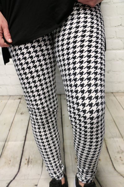 Super Soft Black and White Houndstooth Leggings - Sizes 4-20