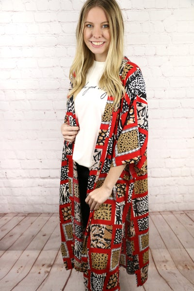 Wild Hearts Can't be Tamed Red Kimono with Animal Print Accents - One Size