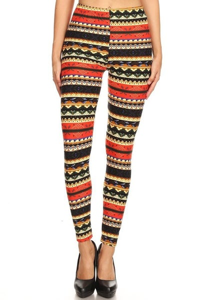 Colorful Striped Christmas Leggings in Red - Sizes 4-20