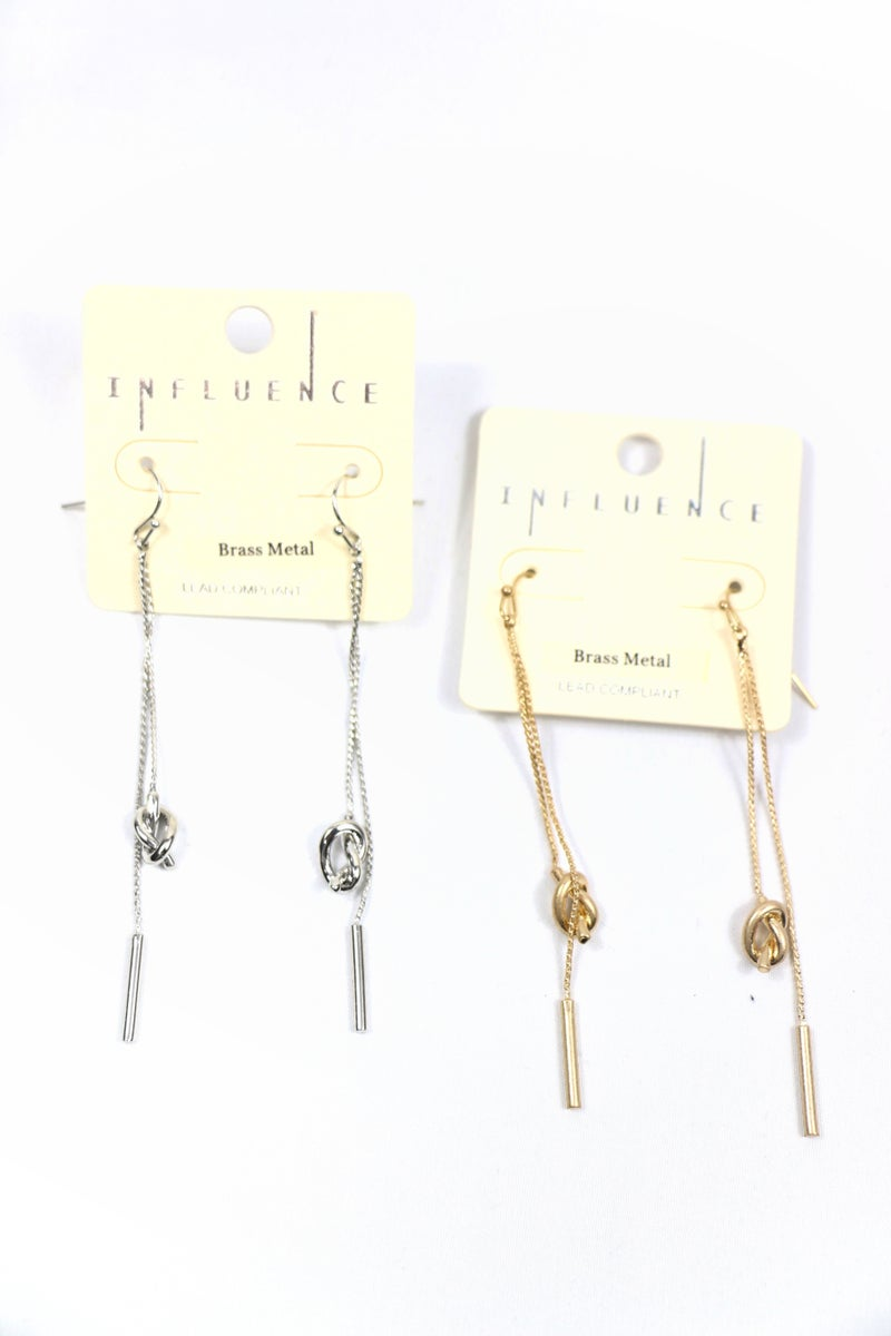 Leisure Time Long Double Chain Knot And Bar Drop Earring In Multiple Colors