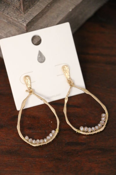 Glory Brushed Gold Teardrop Hoop Earring With Inset Tan Crystal Beads