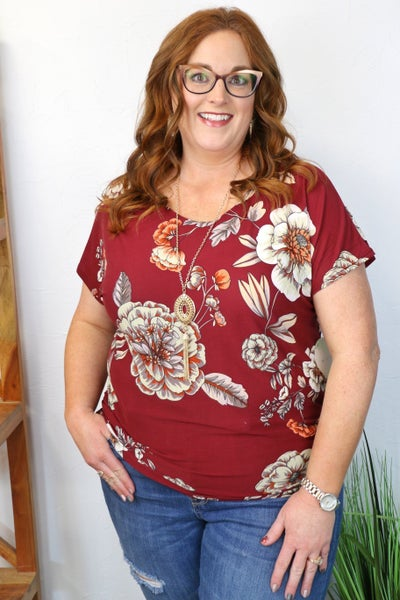 Always Beautiful Burgundy Floral Short Sleeve Top with Matching Necklace - Sizes 12-20