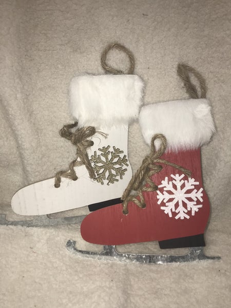 Ice Skate and Snowflake Christmas Decor in Multiple Colors