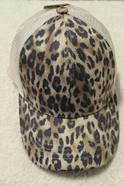 Prowling in the Night CC Leopard Ponytail Basball Cap