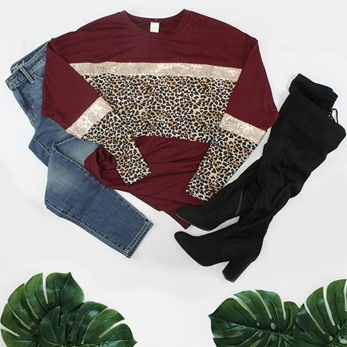 Just a Touch of Wild Leopard Colorblock with Rose Gold Sequin in Multiple Colors - Sizes 4-20
