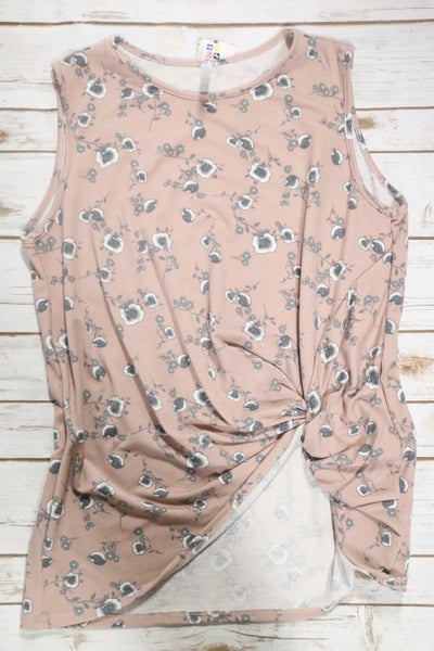 Be There Mauve Floral Sleeveless Top with Twist Accent - Sizes 12-20
