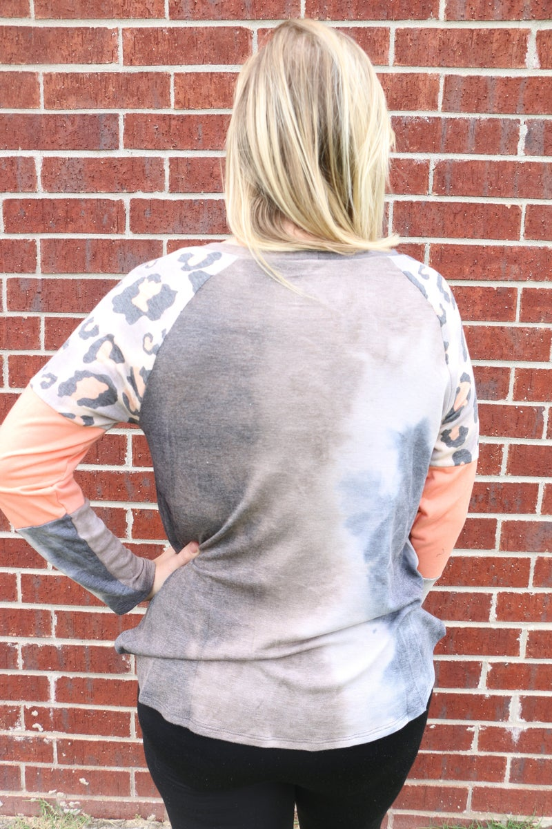 Give It Your Best Navy Tie Dye Top with Neon Coral Leopard Accent Sleeve - Sizes 4-10