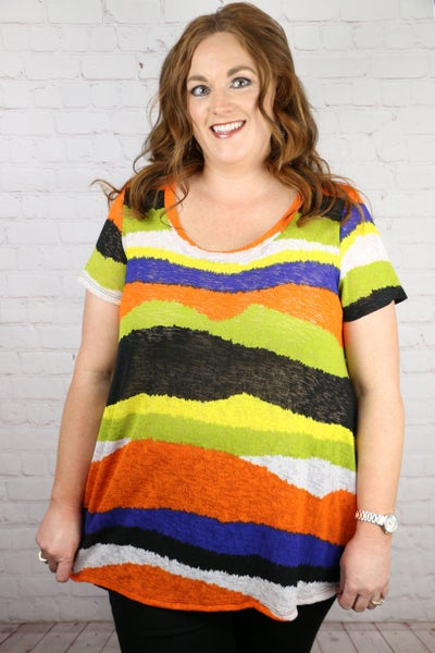 Always Depends Multicolored Striped Short Sleeve Top - Sizes 12-20