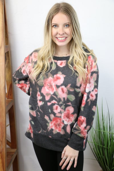 Never Felt Like This Super Soft Charcoal Floral Print Top with Kangaroo Pocket  - Sizes 4-10