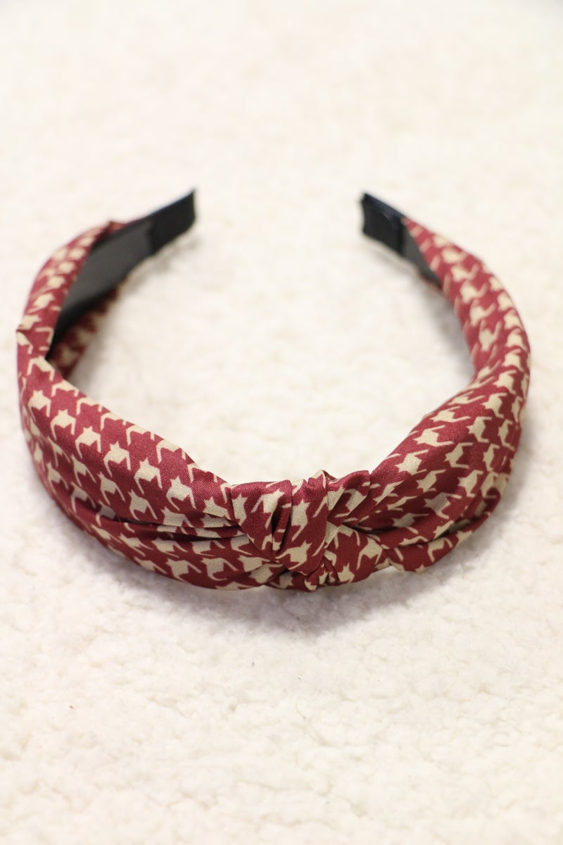 Today's The Day Knotted Houndstooth Headband In Multiple Colors