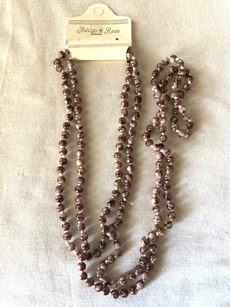 Looking Sharp Brown And White Marble Bead Necklace