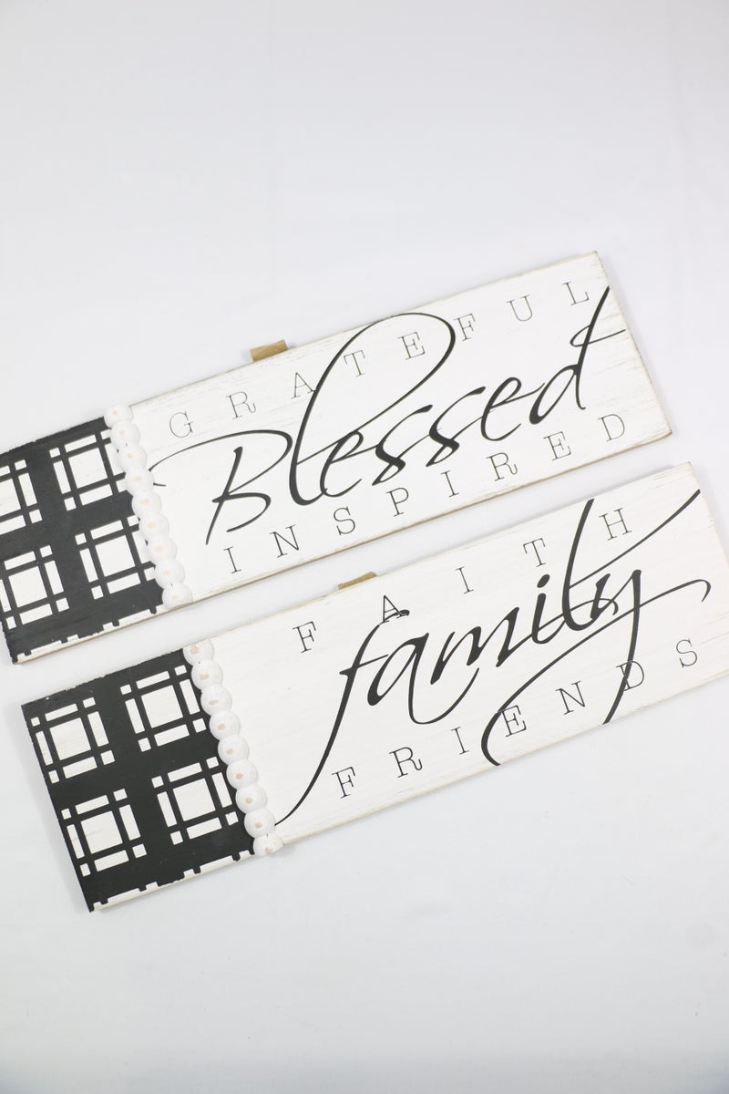 Grateful, Blessed, Inspired Black and White Wall Hanging