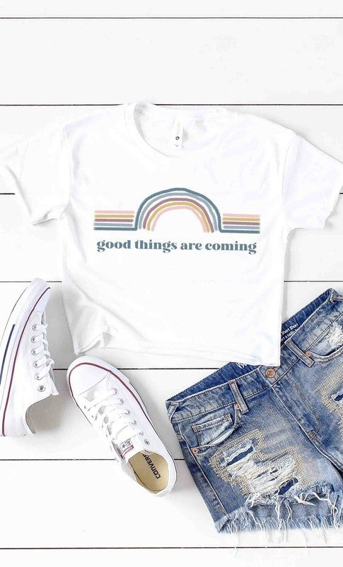 Good Things Are Coming Retro Rainbow Graphic Tee - Sizes 4-20