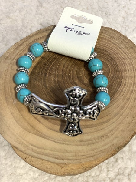 Forever Together Turquoise Stretch Bracelet With Silver Cross