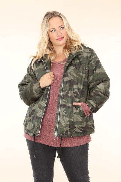 Looking Forward to the Future Hooded Puffer Camo Jacket - Size 12-20