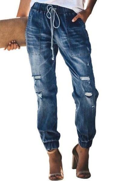 Best Of Both Worlds Denim Distressed Joggers - Sizes 4-18